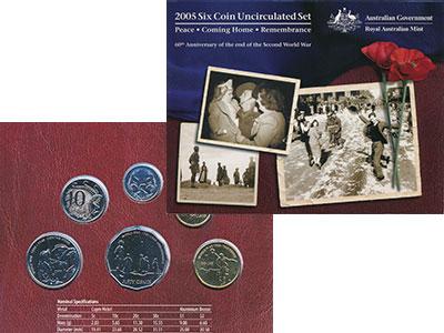 Изображение Подарочные монеты Австралия 60 лет окончания Второй мировой войны 2005  UNC `В набор входят три