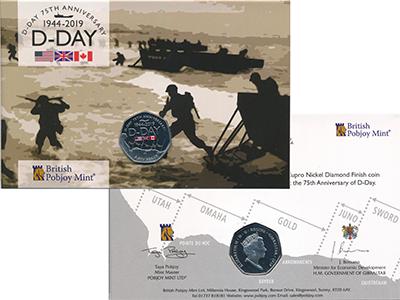 Изображение Подарочные монеты Гибралтар 50 пенсов 2019 Медно-никель UNC 75 лет высадке в Нор