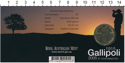 Изображение Подарочные монеты Австралия 1 доллар 2005 Латунь UNC- 100 лет Галлиполи