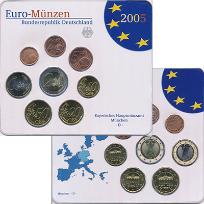 Изображение Подарочные монеты Германия Выпуск 2005 года, Чеканка Мюнхена 2005  UNC Евронабор 2005 года,