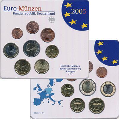 Изображение Подарочные монеты Германия Монеты 2005 (чеканка Штуттгарт) 2005  UNC Евронабор 2005 года,