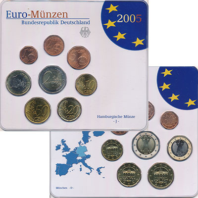 Изображение Подарочные монеты Германия Выпуск 2004 года, Чеканка Гамбурга 2005  UNC Евронабор 2004 года,