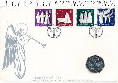 Изображение Монеты Остров Мэн 50 пенсов 1991 Медно-никель UNC Рождество.<br>Ориги