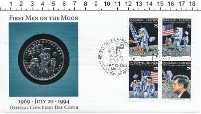Изображение Монеты Маршалловы острова 5 долларов 1994 Медно-никель UNC Первая высадка челов