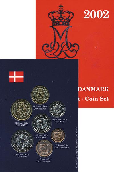 Изображение Подарочные монеты Дания Набор 2002 года 2002  UNC В набор входят семь