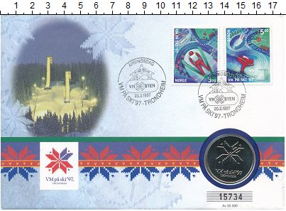 Изображение Подарочные монеты Норвегия Жетон 1997 Медно-никель UNC Памятный жетон посвя