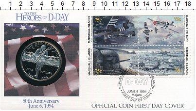 Изображение Подарочные монеты Маршалловы острова 5 долларов 1994 Медно-никель UNC 50 лет Высадке в Нор