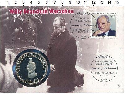Изображение Подарочные монеты Германия Медаль 1993 Медно-никель UNC Визит Вилли Брандта