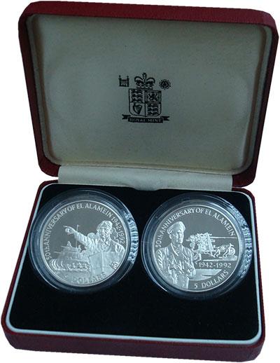 Изображение Подарочные монеты Белиз Битва при Эль-Аламейне 1992 Серебро Proof Набор из двух монет