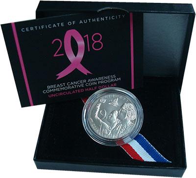 Изображение Подарочные монеты США 1/2 доллара 2018 Медно-никель UNC Борьба с раком молоч