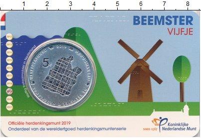 Изображение Подарочные монеты Нидерланды 5 евро 2019 Посеребрение UNC Всемирное Наследие.