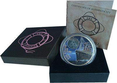 Изображение Подарочные монеты Виргинские острова 2 доллара 2012 Бронза Proof `100 лет со дня гибе