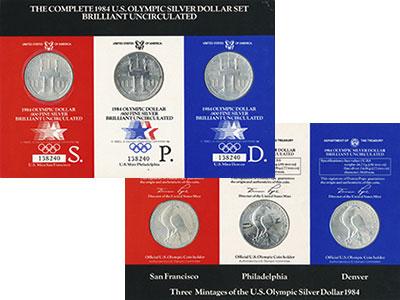 Изображение Подарочные монеты США Олимпийские игры в Лос-Анжелесе 1984 г. 1984 Серебро BUNC Набор из трех монет