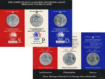 Изображение Подарочные монеты США Олимпийские игры в Лос-Анжелесе 1984 г. 1983 Серебро BUNC Набор из трех монет