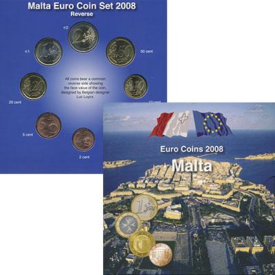 Изображение Подарочные монеты Мальта Набор 2008 года 2008  UNC Набор из 8 монет от
