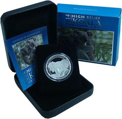 Изображение Подарочные монеты Австралия 1 доллар 2014 Серебро Proof Коала. Серебро 999.