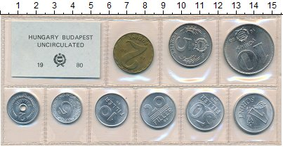 Изображение Наборы монет Венгрия Набор монет 1980 года 1980  UNC- В наборе 9 монет ном