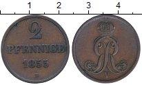 Монета Ганновер 2 пфеннига Медь 1855 XF фото