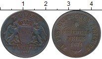 Монета Баден 1 крейцер Медь 1871 XF-