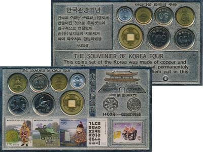 Изображение Подарочные монеты Южная Корея Набор монет 0  UNC Набор монет от 1 до