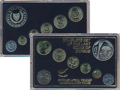 Изображение Подарочные монеты Кипр набор монет 0  UNC Набор из 7 монет ном