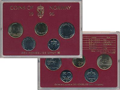 Изображение Подарочные монеты Норвегия Набор 1996 года 1996  UNC Набор монет от 50 ор
