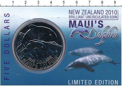 Изображение Подарочные монеты Новая Зеландия 5 долларов 2010 Медно-никель UNC Дельфин Мауи. Оригин