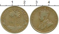 Монета Западная Африка 1 шиллинг Латунь 1920 XF