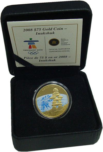 Изображение Подарочные монеты Канада 75 долларов 2008 Золото Proof Олимпиада в Ванкувер