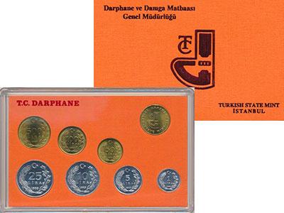 Изображение Подарочные монеты Турция Набор 1989 года 1989  UNC Набор из 7 монет от