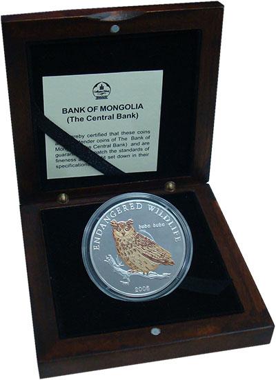 Изображение Подарочные монеты Монголия 500 тугриков 2005 Серебро Proof- Сова. Оригинальная у