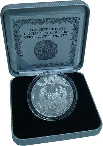 Изображение Подарочные монеты Казахстан 500 тенге 2016 Серебро Proof Разрезание пут. Ориг