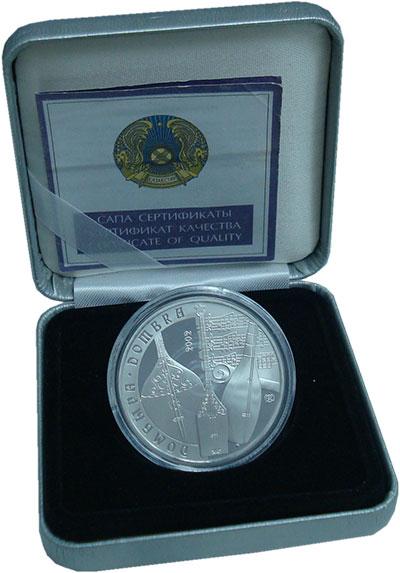 Изображение Подарочные монеты Казахстан 500 тенге 2002 Серебро Proof Домбра. Оригинальная
