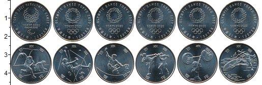 Изображение Наборы монет Япония Токио 2020 г. 2019 Медно-никель UNC В наборе 6 монет ном