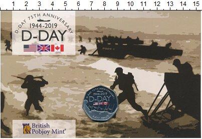 Изображение Подарочные монеты Гибралтар 50 пенсов 2019 Медно-никель Proof 75 лет высадке в Нор