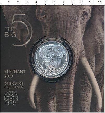 Изображение Монеты ЮАР 5 ранд 2019 Серебро UNC Серия Большая пятёрк