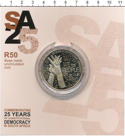 Изображение Подарочные монеты ЮАР 50 ранд 2019 Латунь UNC 25 лет конституционн