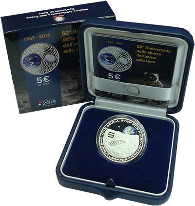Изображение Подарочные монеты Италия 5 евро 2019 Серебро Proof 50 лет Высадке на Лу