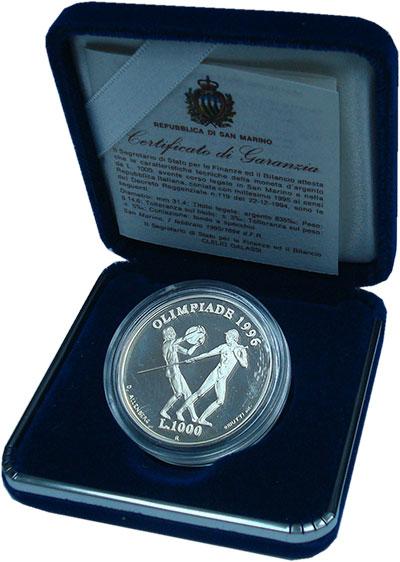 Изображение Подарочные монеты Сан-Марино 1.000 лир 1995 Серебро Proof Летние Олимпийские и