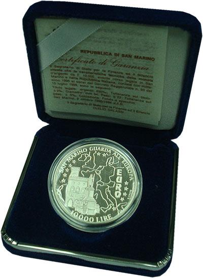 Изображение Подарочные монеты Сан-Марино 10.000 лир 1996 Серебро Proof Интеграция в ЕС. Сер