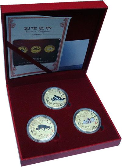 Изображение Подарочные монеты Китай Год собаки 2018 Латунь UNC Набор из трёх жетоно