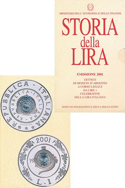 Изображение Подарочные монеты Италия Прощай, лира! 2001 Серебро UNC Подарочный набор пос
