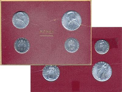 Изображение Подарочные монеты Ватикан Набор монет 1951 года 1951 Алюминий UNC Пий XII В наборе 4 м