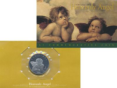 Изображение Подарочные монеты Маршалловы острова 5 долларов 1994 Медно-никель UNC Небесный ангел Рафаэ