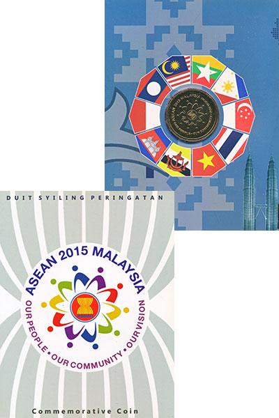 Изображение Подарочные монеты Малайзия 1 рингит 2015 Латунь UNC АСЕАН. Монета находи