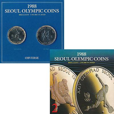 Изображение Подарочные монеты Южная Корея Олимпиада в Сеуле 1988 Медно-никель UNC В наборе 2 монеты но