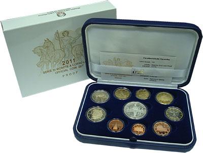 Изображение Подарочные монеты Италия Евронабор 2011 2011  Proof Подарочный набор пос