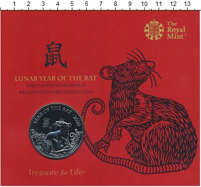 Изображение Подарочные монеты Великобритания 5 фунтов 2020 Медно-никель BUNC Год крысы. Оригиналь