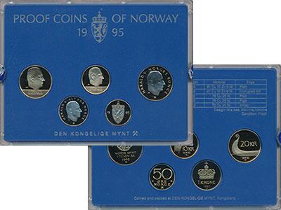Изображение Подарочные монеты Норвегия Набор 1995 года 1995  Proof В набор входят четыр