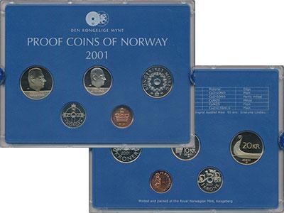 Изображение Подарочные монеты Норвегия Набор 2001 года 2001  Proof В набор входят пять